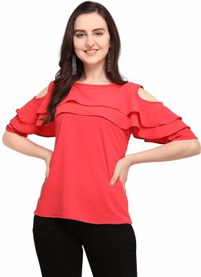 F Plus fashion Party Layered Sleeve Solid Women Pink Top