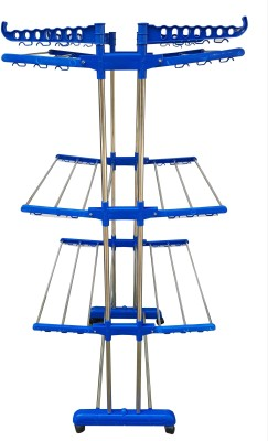 SUNDEX DOUBLE PIPE SUPPORTING 3 TIER STRONG INDIAN MADE CLOTHES DRYING RACK Stainless Steel Floor Cloth Dryer Stand (Blue) Stainless Steel Floor Cloth Dryer Stand(Multicolor)