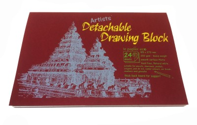 Creates   Designs Artist's Handmade Paper Detachable Drawing Block Sketch Pad Maroon, 24 Sheets