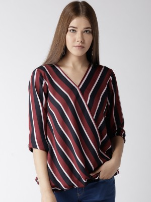 Style Quotient Casual 3/4 Sleeve Striped Women Red, Blue Top