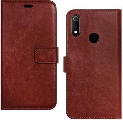 Spicesun Flip Cover for Realme 3, Realme 3i(Brown, Hard Case)