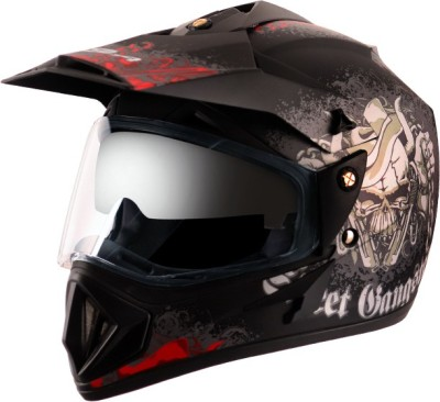 VEGA Off Road D/V Gangster Motorsports Helmet(Dull Black Red)