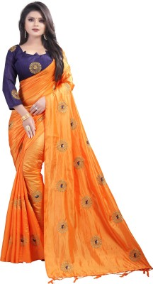 3Buddy Fashion Embroidered Banarasi Silk Saree(Orange)