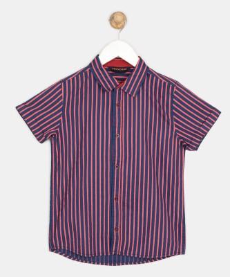 Provogue Boys Striped Casual Red, Dark Blue Shirt at flipkart