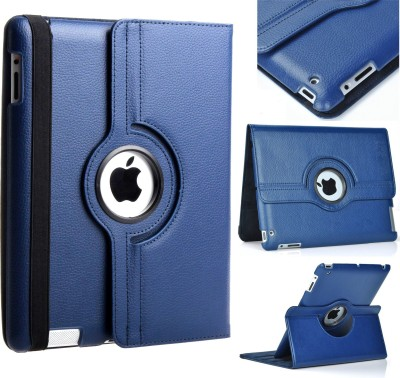 Beebox Flip Cover for Apple iPad 2 Ipad 3 Ipad 4 Degree Rotating Leather Case Cover(Blue)