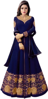 Colourfull Button Poly Georgette Embellished Semi-stitched Salwar Suit Dupatta Material(Semi Stitched)