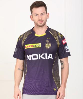 Kolkata Knight Riders IPL Printed Men Round or Crew Purple, Dark Blue T-Shirt