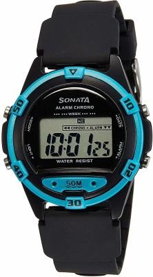 Sonata 77046PP01 Superfiber Black Digital Men's Watch (77046PP01)