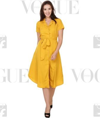 Crease & Clips Women's Shirt Yellow Dress