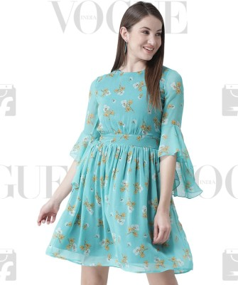 The Vanca Women Fit and Flare Blue Dress