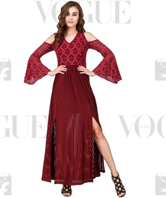 Texco Women Maxi Maroon Dress