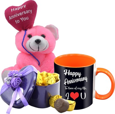Midiron Wedding Anniversary Gift For Your Love One's That Comes With 15 Pieces Luxury Dark Chocolate in Tin Box, Printed Ceramic Mug and Teddy IZ19Choco15Tinbox4PurMUoTHA-NJPAnniversary-85 Ceramic, Silk Gift Box(Orange, Pink)