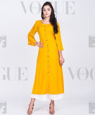 Divastri Women Solid Frontslit Kurta(Yellow)