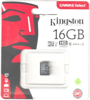 Kingston 16   GB MicroSDHC Class 10 80 MB/s Memory Card Kingston Memory Cards