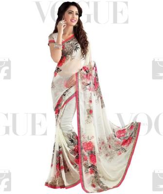 Saara Floral Print Fashion Georgette Saree(Multicolor)