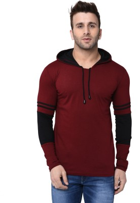 Helmont Solid Men Hooded Maroon T-Shirt