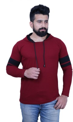 KAY S APPARELS Solid Men Hooded Maroon T-Shirt