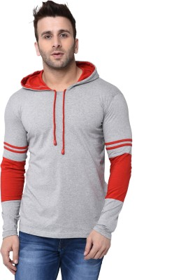 Helmont Striped Men Hooded Neck Grey, Red T-Shirt