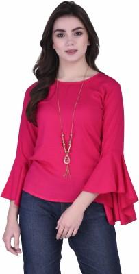 VAANYA Casual Bell Sleeve Solid Women Pink Top