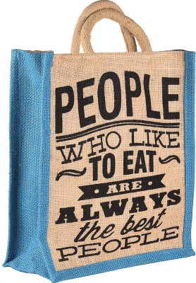 THUNDERFIT Unisex Multipurpose Waterproof Jute Lunch Bags with Zip Closure (11 X 9 X 6 - Inch) N-5 Waterproof Lunch Bag(Blue, 12 inch)