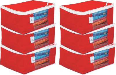 KUBER INDUSTRIES Plain Non Woven Saree Cover Bag Set of 6 Pcs/Wardrobe Organiser/Regular Clothes Bag   Red  9 Inches Height CTKTC05697 Red KUBER INDUS