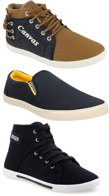 Chevit Combo Pack of 3 Casual Shoes (Sneakers Shoes) Canvas Shoes For Men(Brown, Blue, Black)