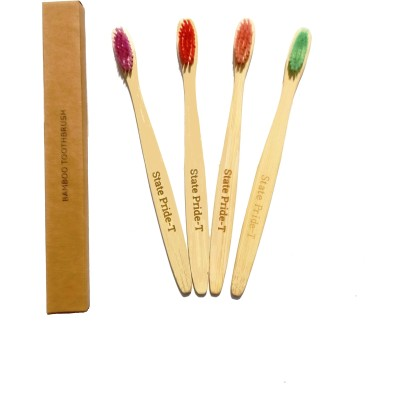 State Pride-T Bamboo pack of 4 Medium Toothbrush(Pack of 4)