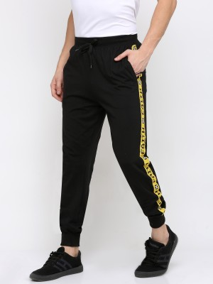 Maniac Striped Men Black, Yellow Track Pants