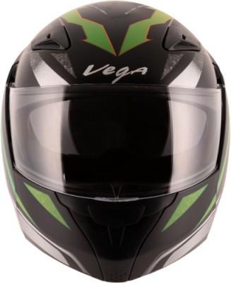 VEGA Boolean Drift Motorbike Helmet(Dull Black Green)