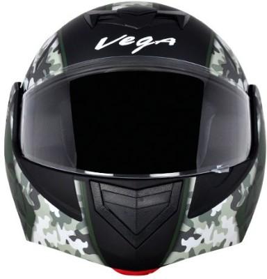 VEGA CRUX DX CAMOUFLAGE DULL BLACK BATTLE GREEN HELMET Motorbike Helmet(BLACK BATTLE GREEN)