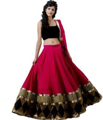 Maniyara Fashion Embroidered Semi Stitched Lehenga Choli(Pink, Black)