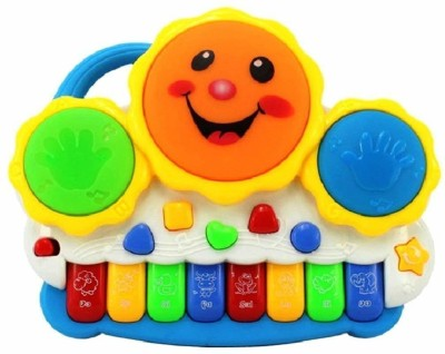ODDEVEN Drum Keyboard Musical Toys with Flashing Lights, Animal Sounds And Songs(Multicolor)