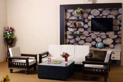 Allie Wood Wooden (Sheesham) Premium Quality Sofa Set with Cushions (Special PU Polish) Fabric 3 + 1 + 1 Walnut Brown Sofa Set