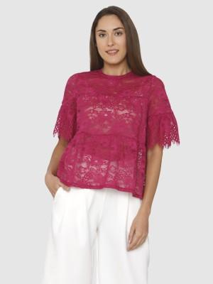 Vero Moda Casual Half Sleeve Self Design Women Pink Top