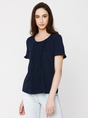 Vero Moda Casual Short Sleeve Solid Women Blue Top