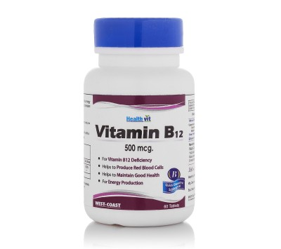 Healthvit B12 500 Mcg Supplement (60 Capsules)