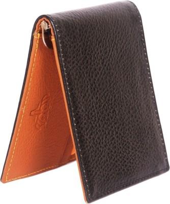 Naysa Men Black, Tan Genuine Leather Money Clip 3 Card Slots Naysa Wallets