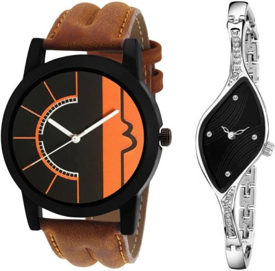 SPLAZOS TitaanBlack14 Combo Set Of Two Stylish Attractive Chronograph Pattern PartyWear Girls And Boys Analog Watch  - For Couple