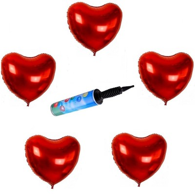 De-Ultimate Combo Of (Pack of 10)Red Heart Shape Helium/Air 3D Foil Balloons for Valentine Day,Wedding, Birthday,Anniversary Party Decoration with Hand Held Air Pump for Foil Balloon