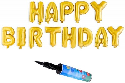 De-Ultimate Combo Of Golden Color Happy Birthday Letter/Alphabet Foil Balloons for Birthday Parties with Portable Hand Held Air Pump for Letter Foil Balloon