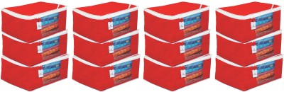 KUBER INDUSTRIES Plain Non Woven Saree Cover Bag Set of 12 Pcs/Wardrobe Organiser/Regular Clothes Bag   Red  9 Inches Height CTKTC05699 Red KUBER INDU