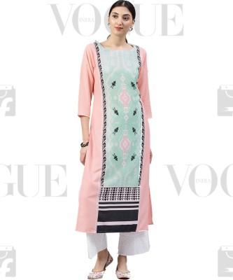 Ahika Women Printed Straight Kurta(Pink, Light Green)