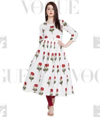 Tissu Women Floral Print Flared Kurta(White)