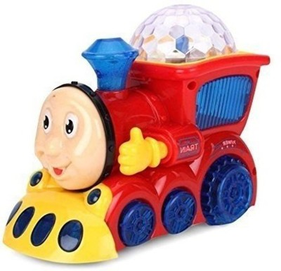 Fedele Bump and Go Musical Engine Train with 4D Light and Sound for Toy for Kids(Multicolor)