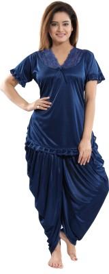 Fashigo Women Solid Blue Top & Pyjama Set