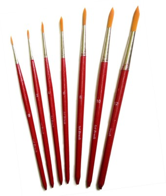 AS Class Paint Brush Set Round, (Set of 7 Red)(Red)