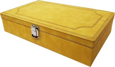Essart Premium 10 Grid Jewellery/Cufflink Organiser with Turn Lock Closure - Yellow Multi Purpose Jewellery Box, Vanity Box, Cufflinks Organiser Box, Box Vanity Box(Yellow)