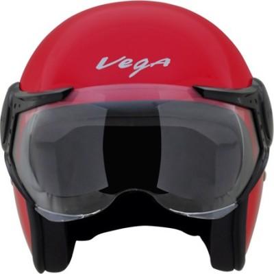 VEGA Jet W/Visor Motorbike Helmet(Red)