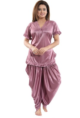 Fabme Women Solid Maroon Top & Pyjama Set