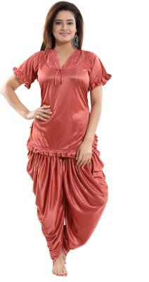 Fashigo Women Solid Brown Top & Pyjama Set